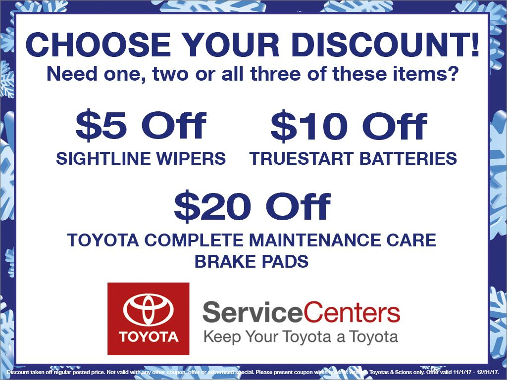 Choose Your Discount $5 off Wipers, $10 off Batteries, $20 off Brake Pads