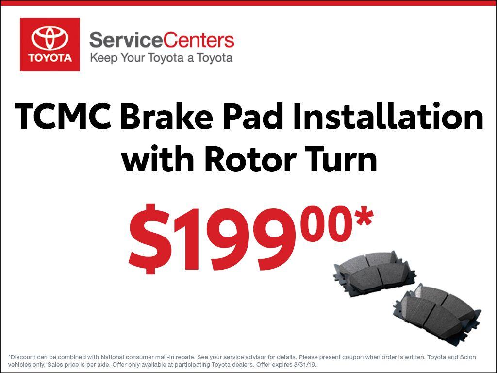 TCMC Brake Pad Installation with Rotor Turn