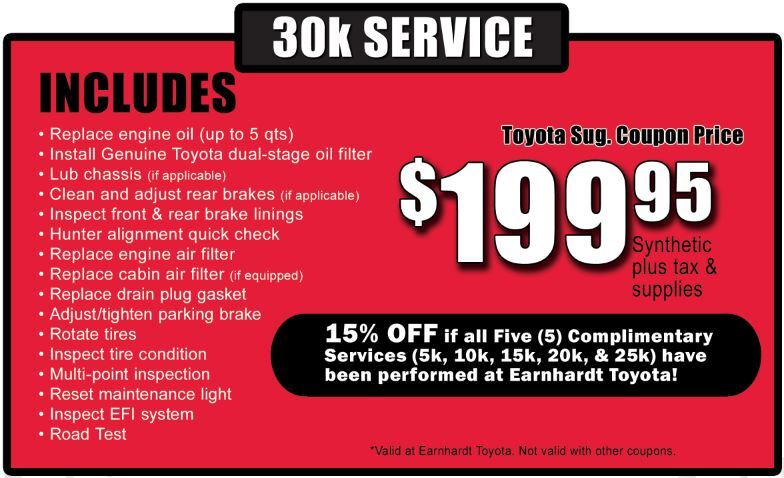 30k Mile Service Discount at Earnhardt Toyota in Mesa