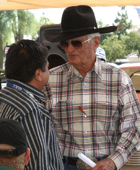 Tex Earnhardt with a customer
