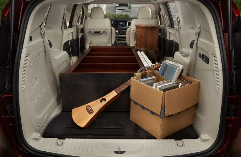 2018 Chrysler Pacifica cargo space filled with furniture items
