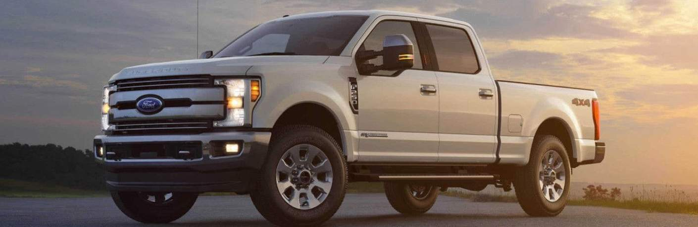 2018 Ford F-450 in white at sunset