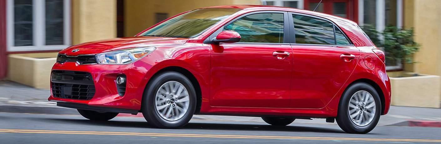 2018 Kia Rio5 exterior in red side profile