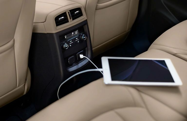 Tablet plugged into a USB port on the 2019 Buick Envision
