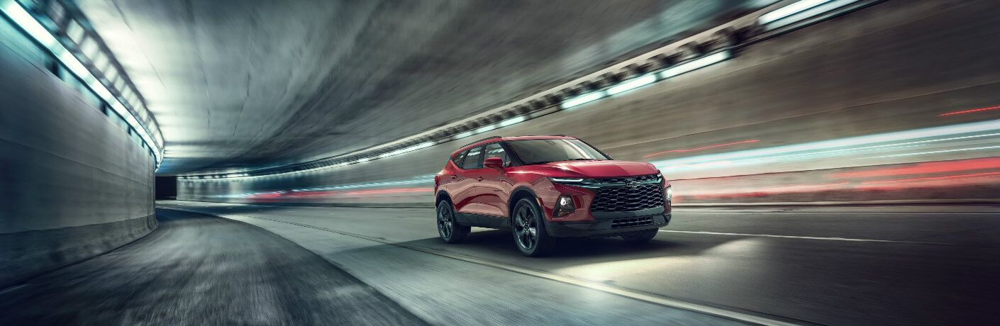 2019 Chevy Blazer driving through a tunnel