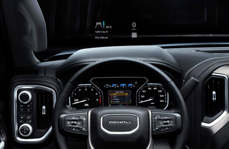 2019 GMC Sierra steering wheel and driver gauges