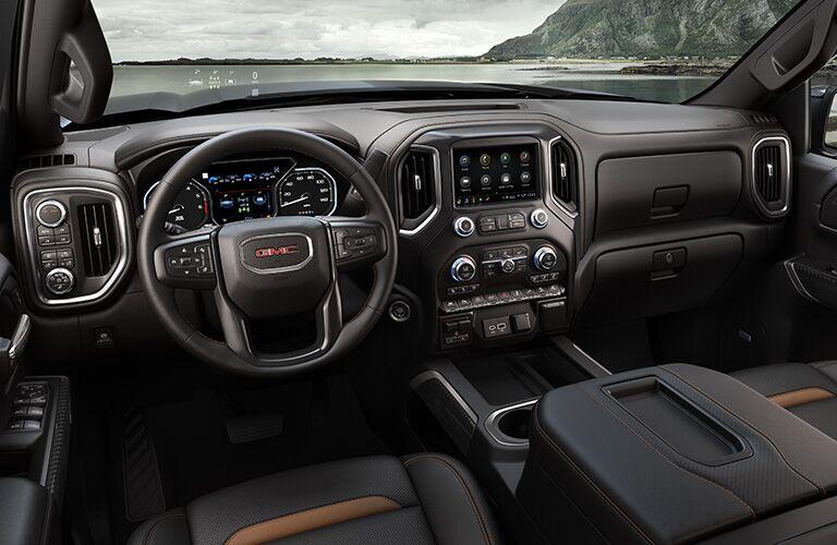 2020 GMC Sierra steering wheel and dashboard