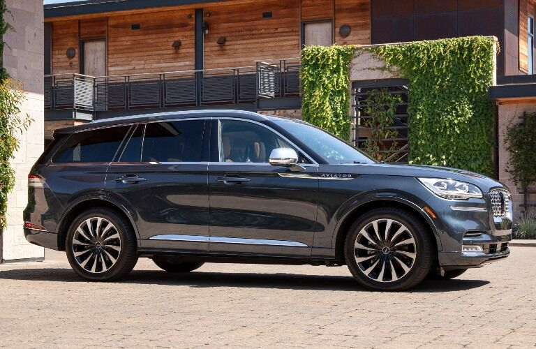 2020 Lincoln Aviator Grand Touring with funky building in background