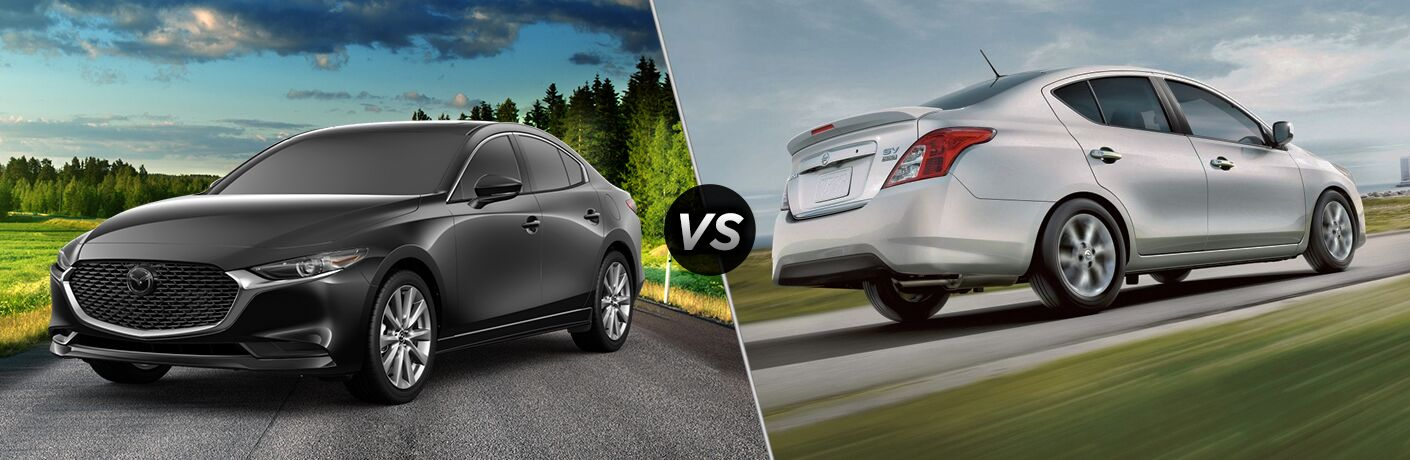 A side-by-side comparison of the 2019 Mazda3 Sedan vs. 2019 Nissan Versa.