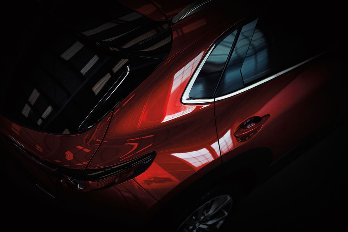 An overhead view of the rear liftgate of a Mazda CX-30 in Mission, TX