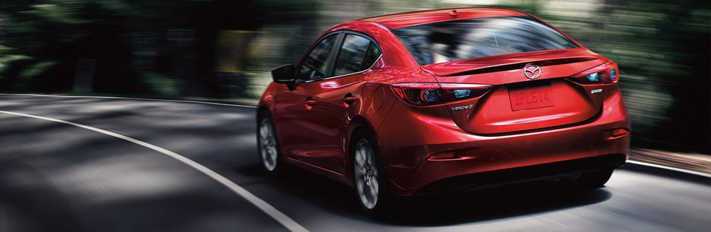 2018 Mazda3 4-Door in red rear view