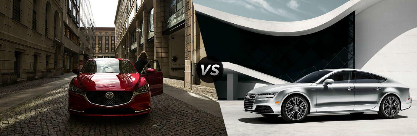 2018 Mazda6 in red vs 2018 Audi A7 in silver