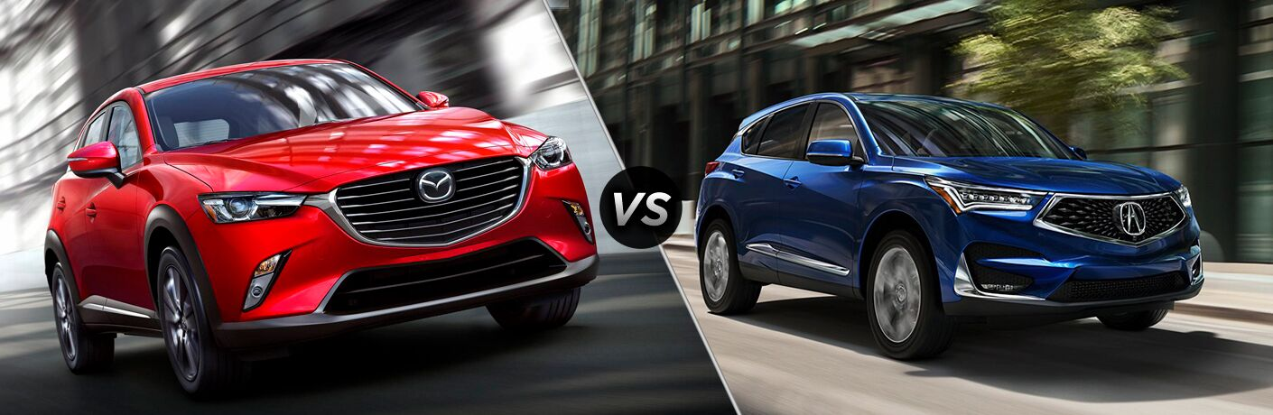 Red 2019 Mazda CX-3 and blue 2019 Acura RDX