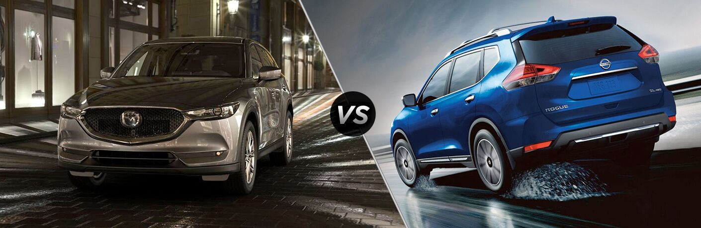 Silver 2019 Mazda CX-5 and blue 2019 Nissan Rogue®