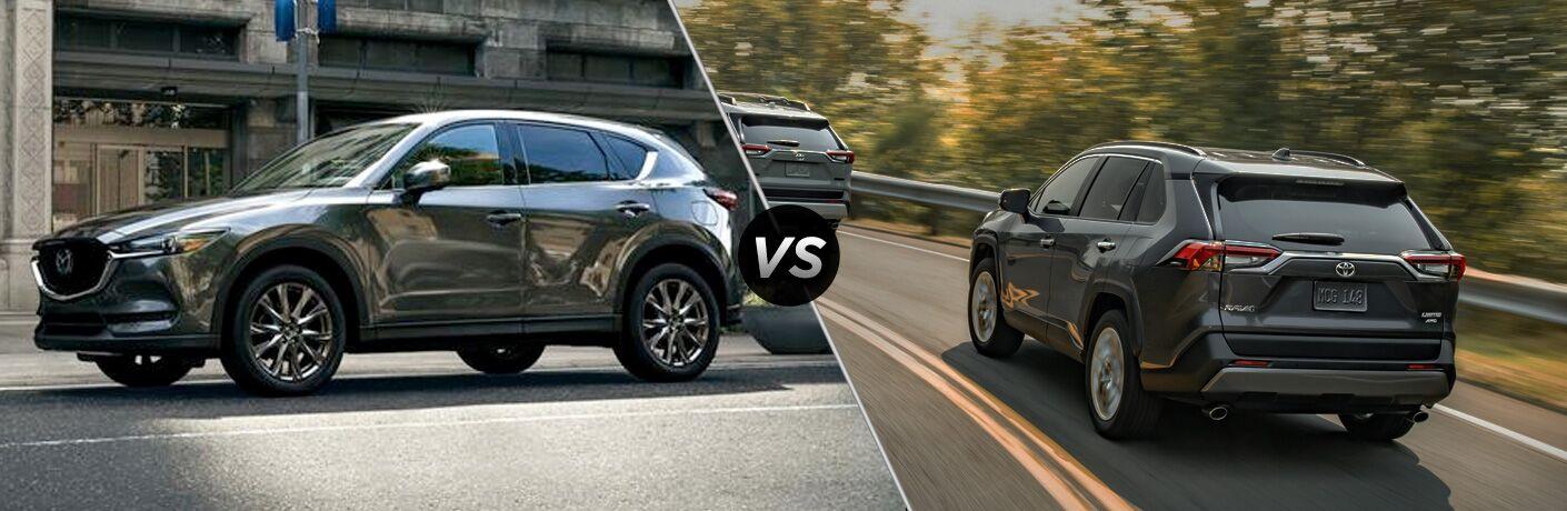 Grey 2019 Mazda CX-5 and grey 2019 Toyota RAV4