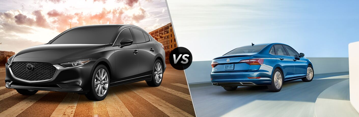 Black 2019 Mazda3 and blue 2019 Volkswagen Jetta