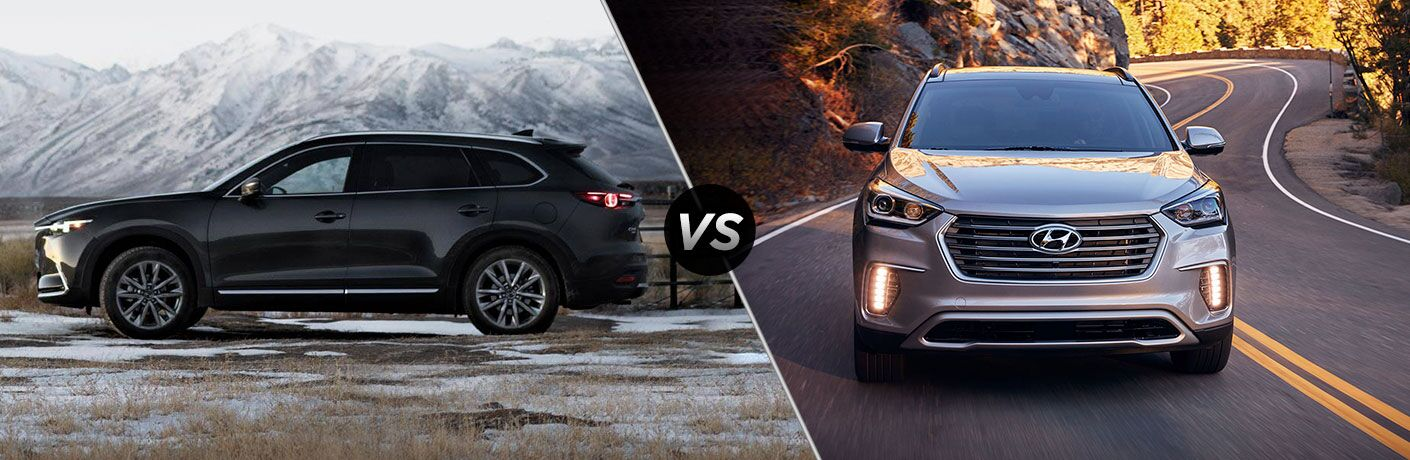 A side-by-side comparison of the 2019 Mazda CX-9 vs. 2019 Hyunda Santa Fe.