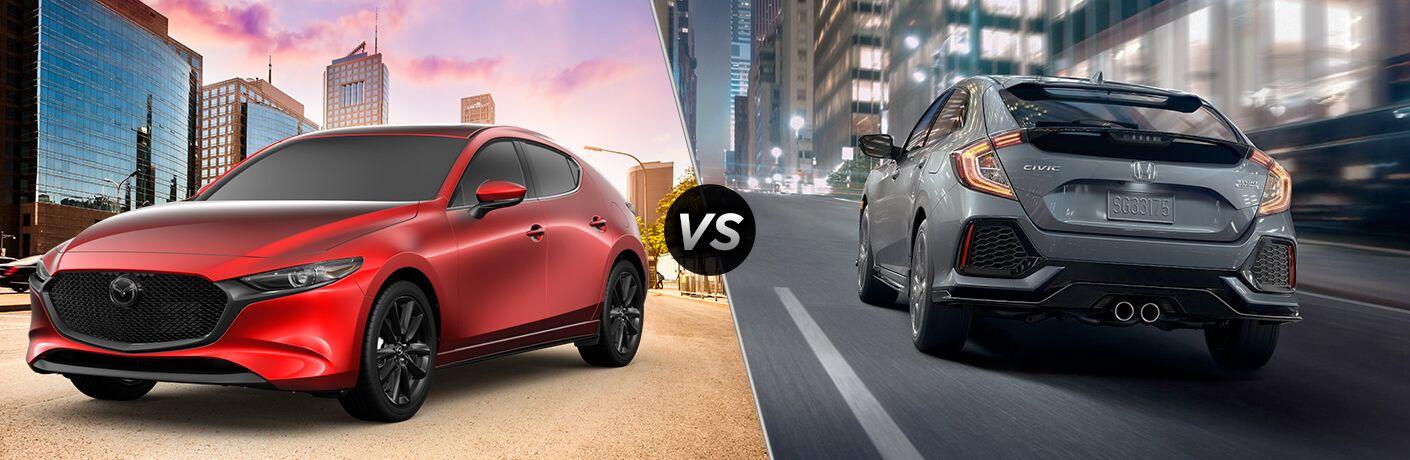 A side-by-side comparison of the 2019 Mazda3 Hatchback vs. 2019 Honda Civic Hatchback.