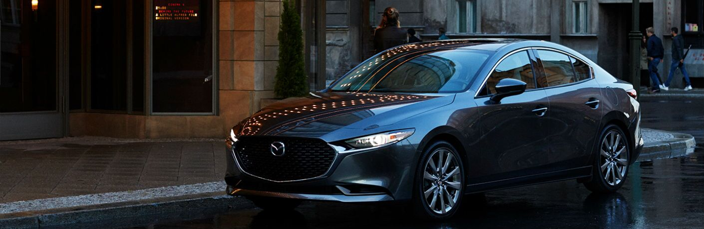 A front left quarter photo of the 2020 Mazda3 Sedan.