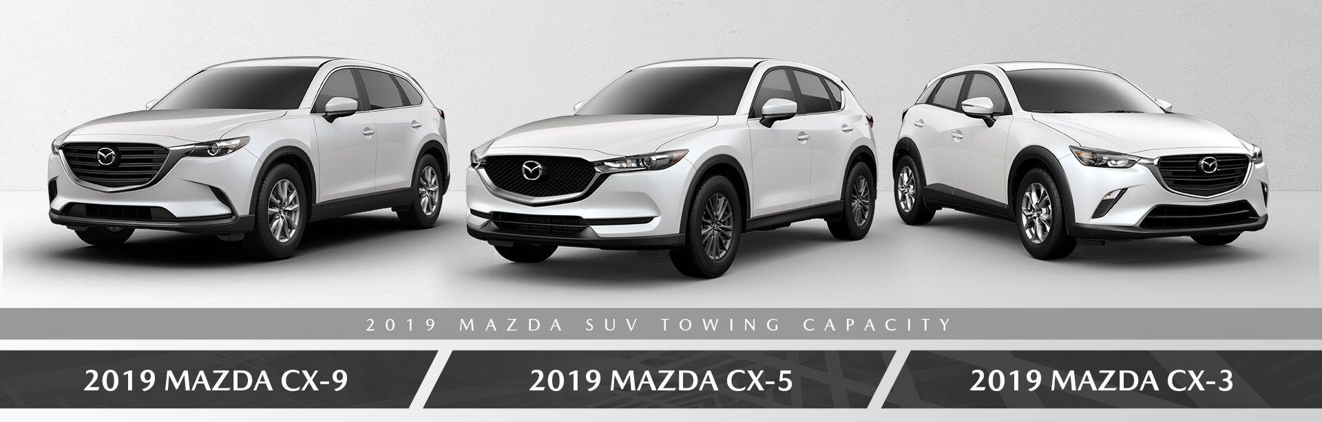 The 2019 Mazda CX-3, 2019 Mazda CX-5, and 2019 Mazda CX-9 at Bert Ogden Mazda in Edinburg, TX
