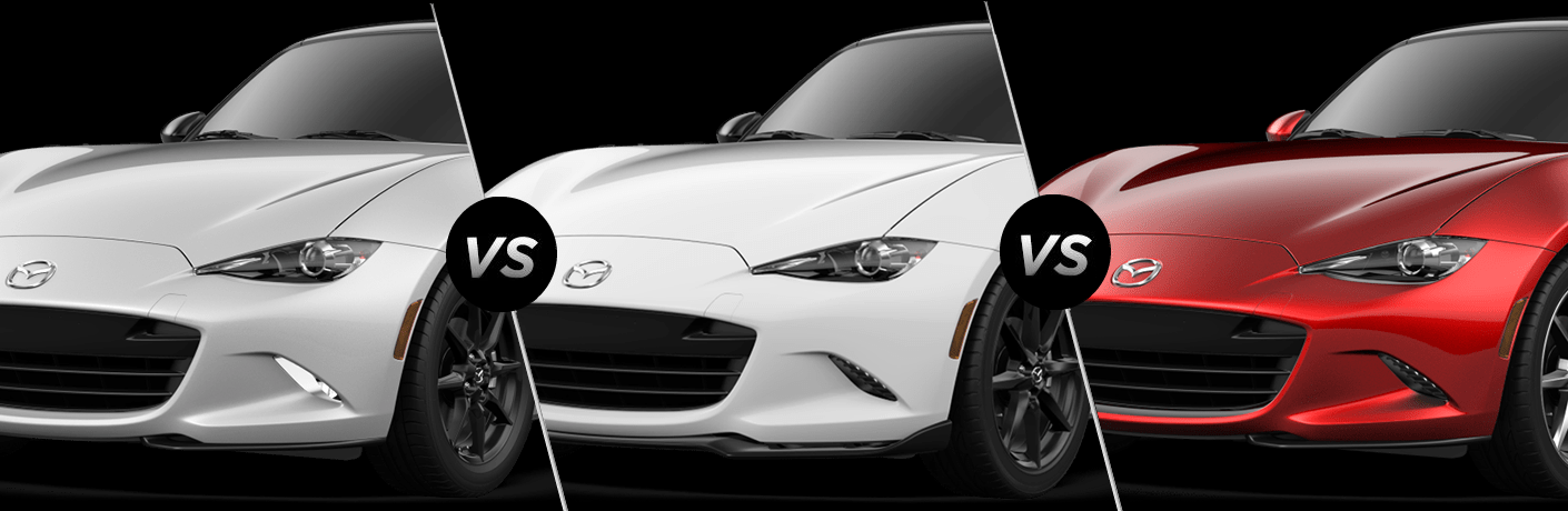 Grey 2019 Mazda MX-5 Miata, White 2019 Mazda MX-5 Miata, and red 2019 Mazda MX-5 Miata