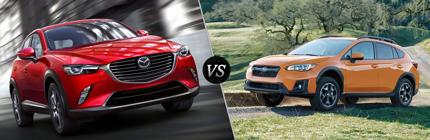 2019 Mazda CX-3 exterior front fascia and passenger side going fast vs 2018 Subaru Crosstrek exterior front fascia and drivers side