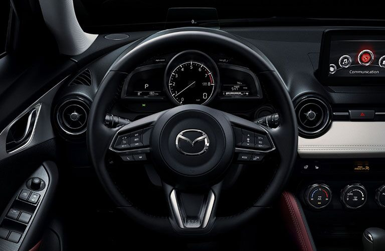 2019 Mazda CX-3 interior front cabin close up of steering wheel