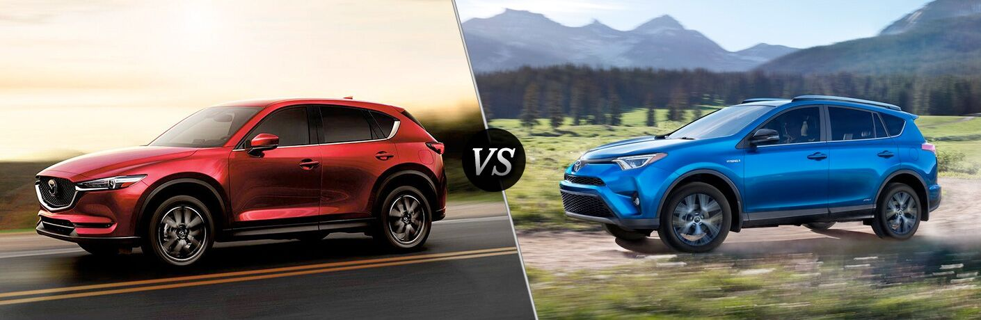 2018 Mazda CX-5 exterior front fascia and drivers side vs 2018 Toyota RAV4 exterior front fascia and drivers side