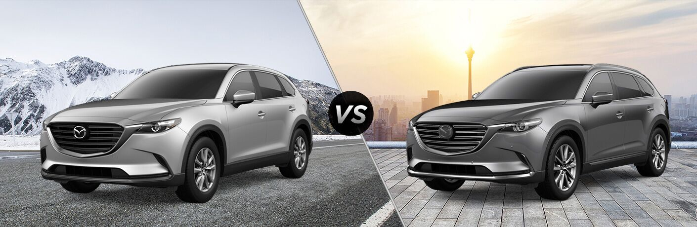 2019 Mazda CX-9 Sport exterior front fascia and drivers side vs 2019 Mazda CX-9 Signature exterior front fascia and drivers side