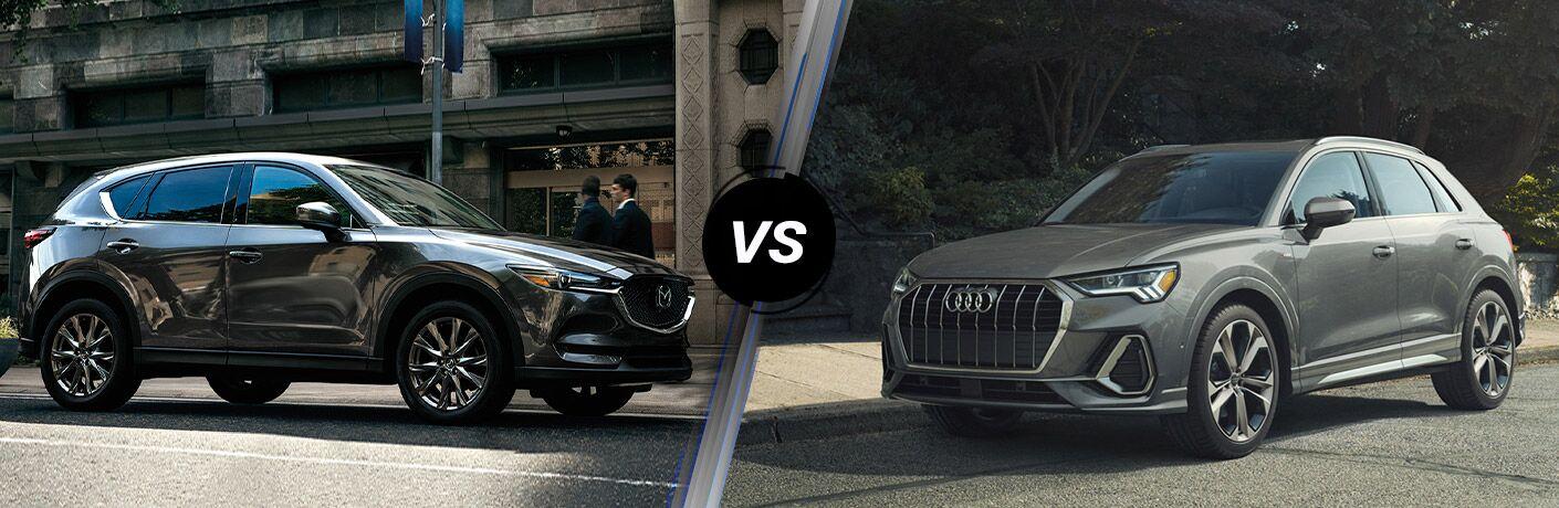 Comparison image of a gray 2020 Mazda CX-5 and a gray 2020 Audi Q3