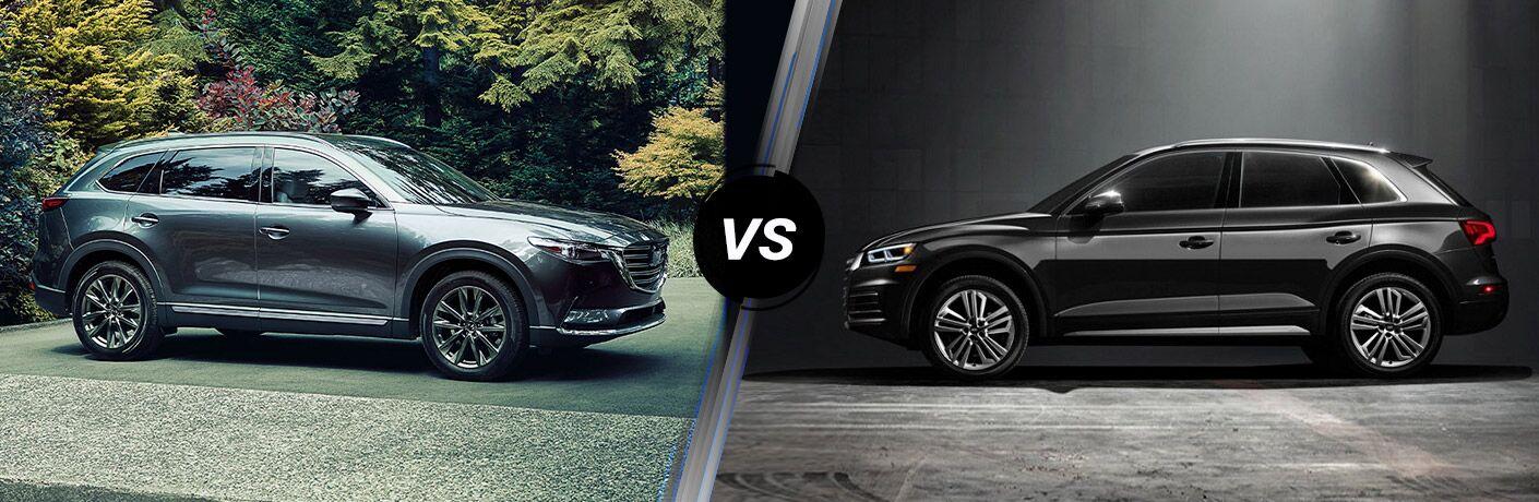 Comparison image of a gray 2020 Mazda CX-5 and a black 2020 Audi Q5
