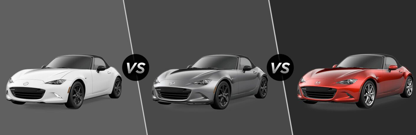 Three 2020 Mazda MX-5 Miata cars next to each other