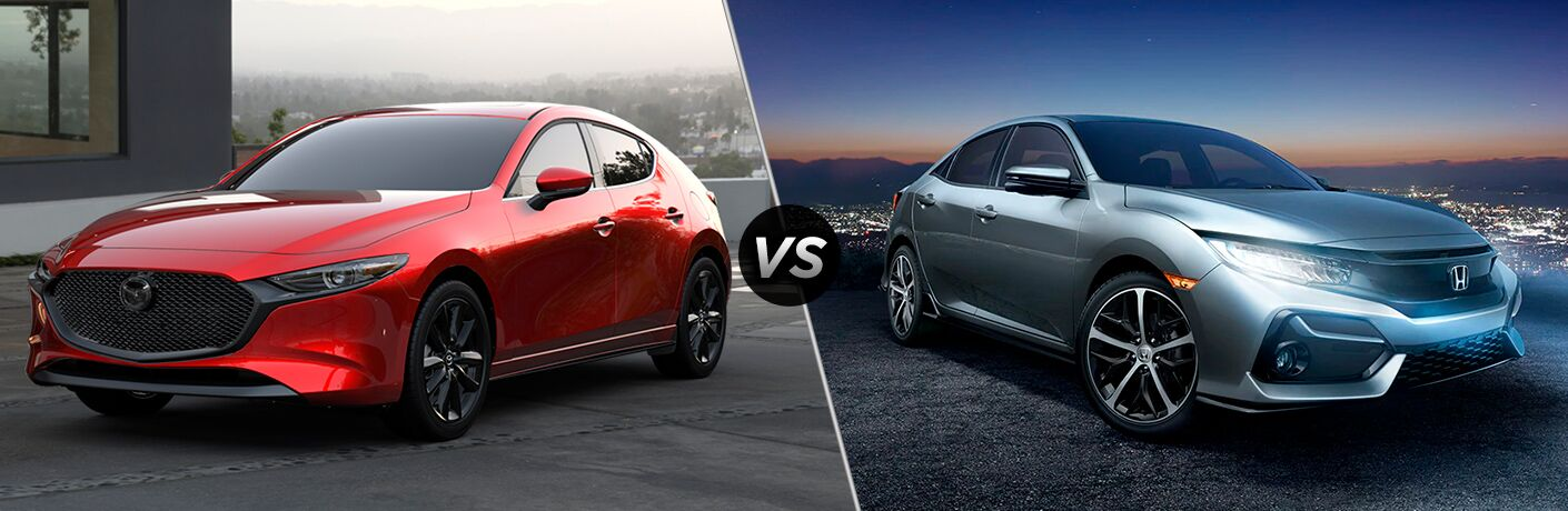 2020 Mazda3 Hatchback next to a 2020 Honda Civic Hatchback