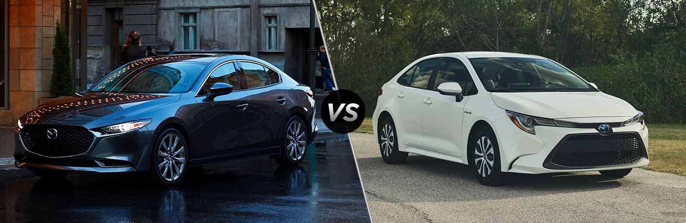 2020 Mazda3 next to a 2020 Toyota Corolla