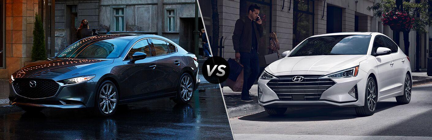 2020 Mazda3 next to a 2020 Hyundai Elantra
