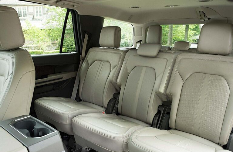 Interior view of the rear seating area inside a 2019 Ford Expedition