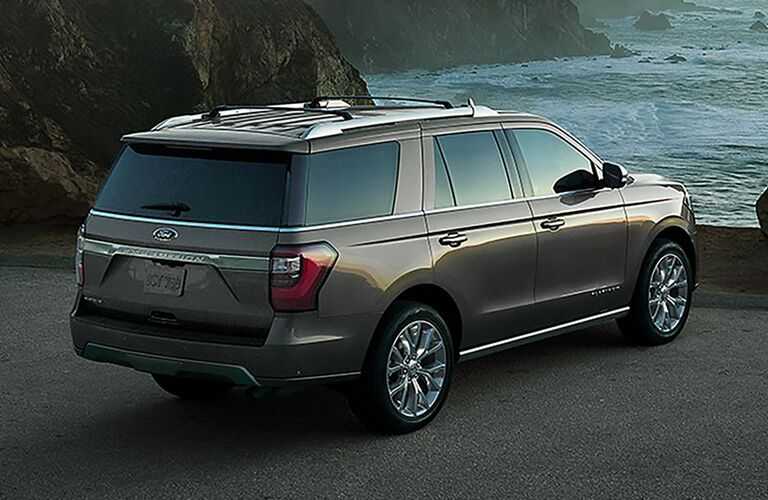 Exterior view of the rear of a gray 2019 Ford Expedition
