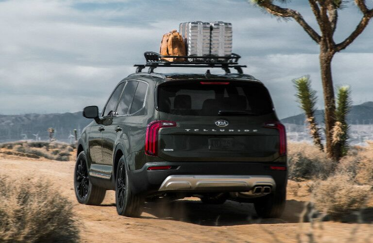 2020 Kia Telluride exterior rear with luggage on roof