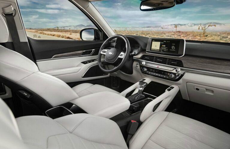 2020 Kia Telluride interior front seat area