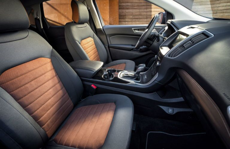 2018 Ford Edge premium seating with brown and black upholstery