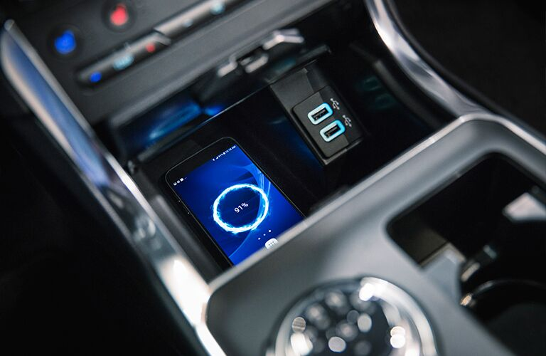 2019 Ford Mustang center console charging phone