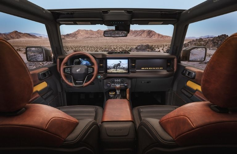2021 Ford Bronco interior dash and wheel view