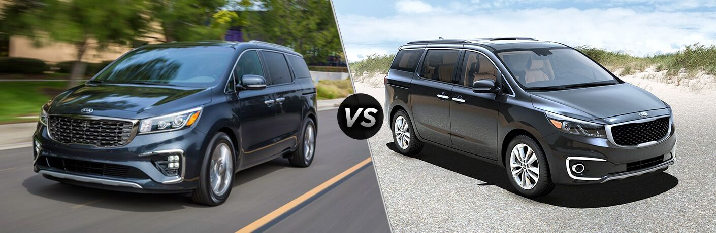 2019 Kia Sedona exterior front fascia and drivers side going fast on road vs 2018 Kia Sedona exterior front fascia and passenger side parked