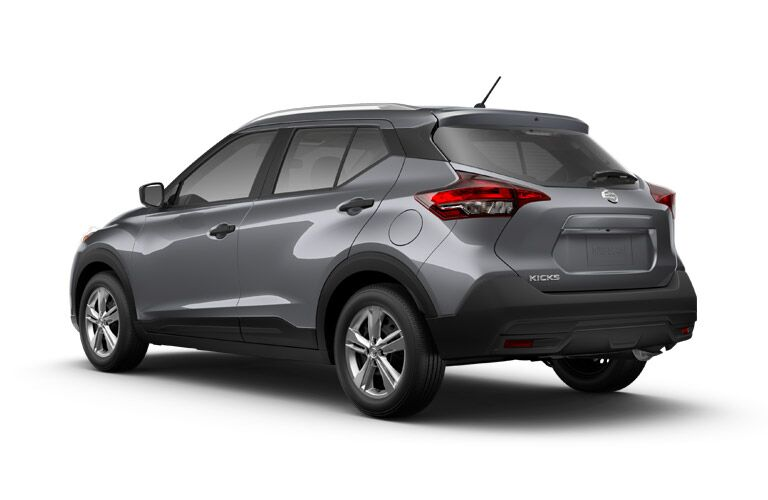side and rear of the 2018 Nissan Kicks S on a white background