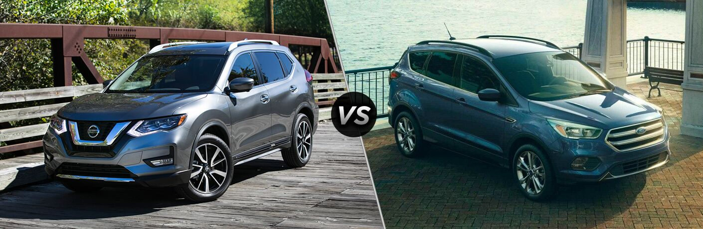 side by side images of the 2018 Nissan Rogue and 2018 Ford Escape