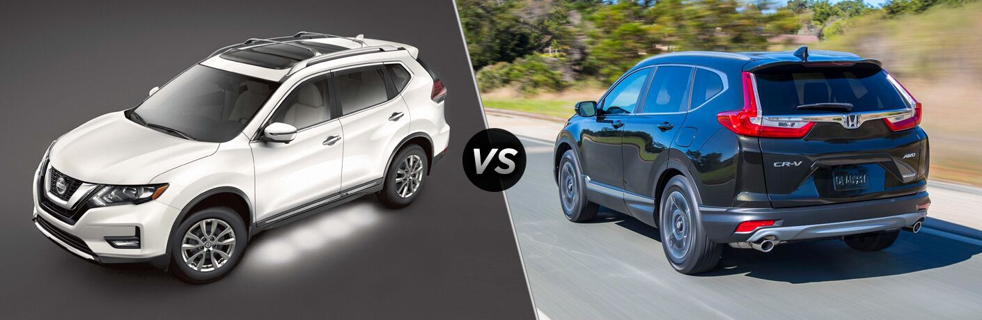 side by side images of the 2018 Nissan Rogue and 2018 Honda CR-V