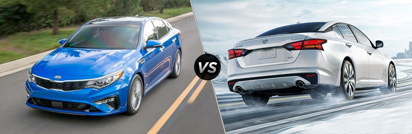 "Blue 2019 Kia Optima drives down a highway, while a white 2019 Nissan Altima drives along a snowy road. Both are separated by a diagonal line and a ""VS"" logo."