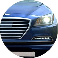 2016 Hyundai Genesis headlight and grille closeup