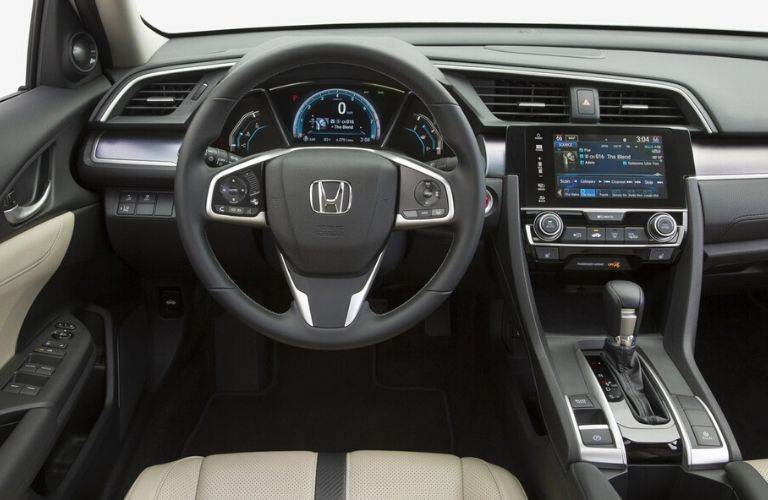 2018 Honda Civic interior steering wheel and driver command center