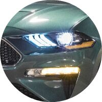 2018 Ford Mustang Bullitt headlight closeup